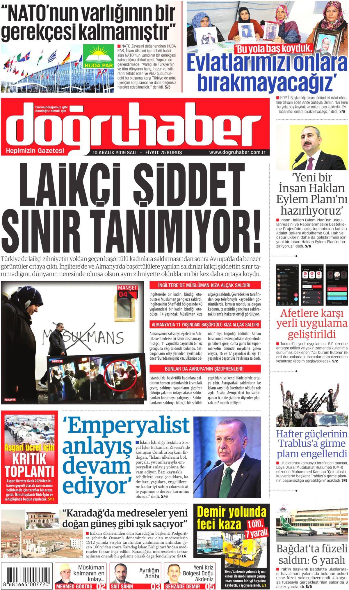 Doğru Haber gazetesi manşet ilk sayfa oku