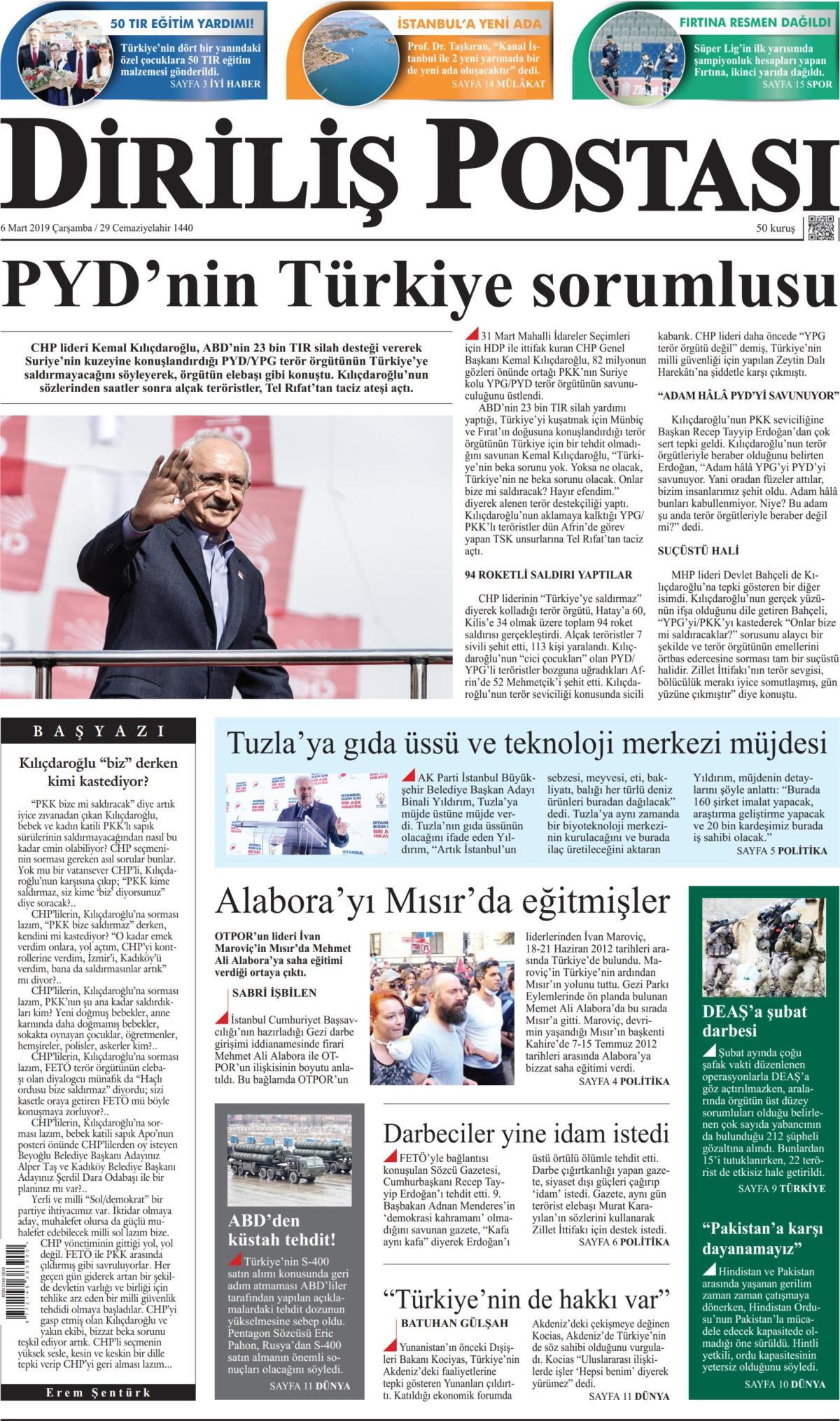 6 Mart 2019 çarşamba Tarihli Diriliş Postası Gazetesi Manşeti