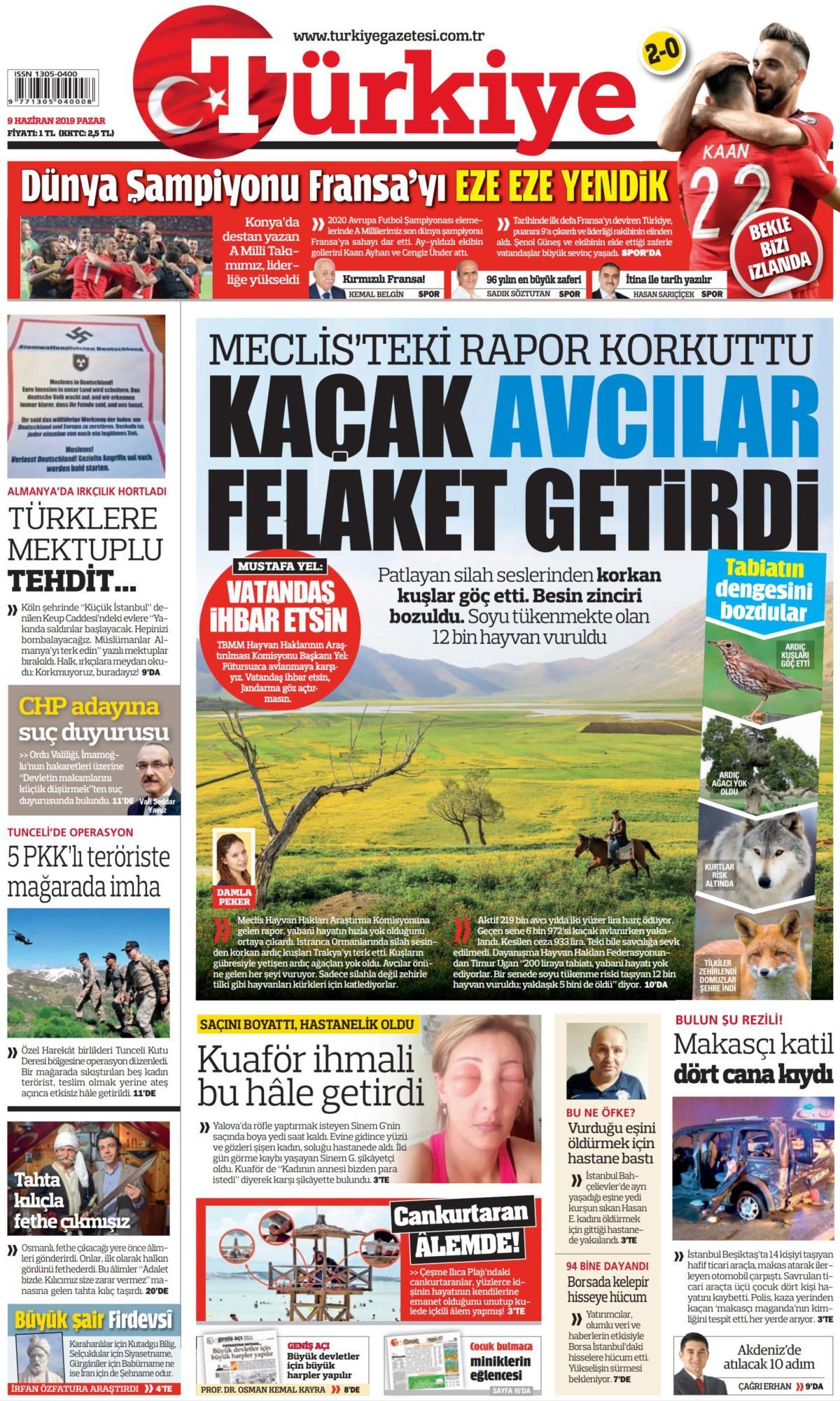 9 Haziran 2019 Pazar Tarihli Turkiye Gazetesi Manseti Memurlar Net