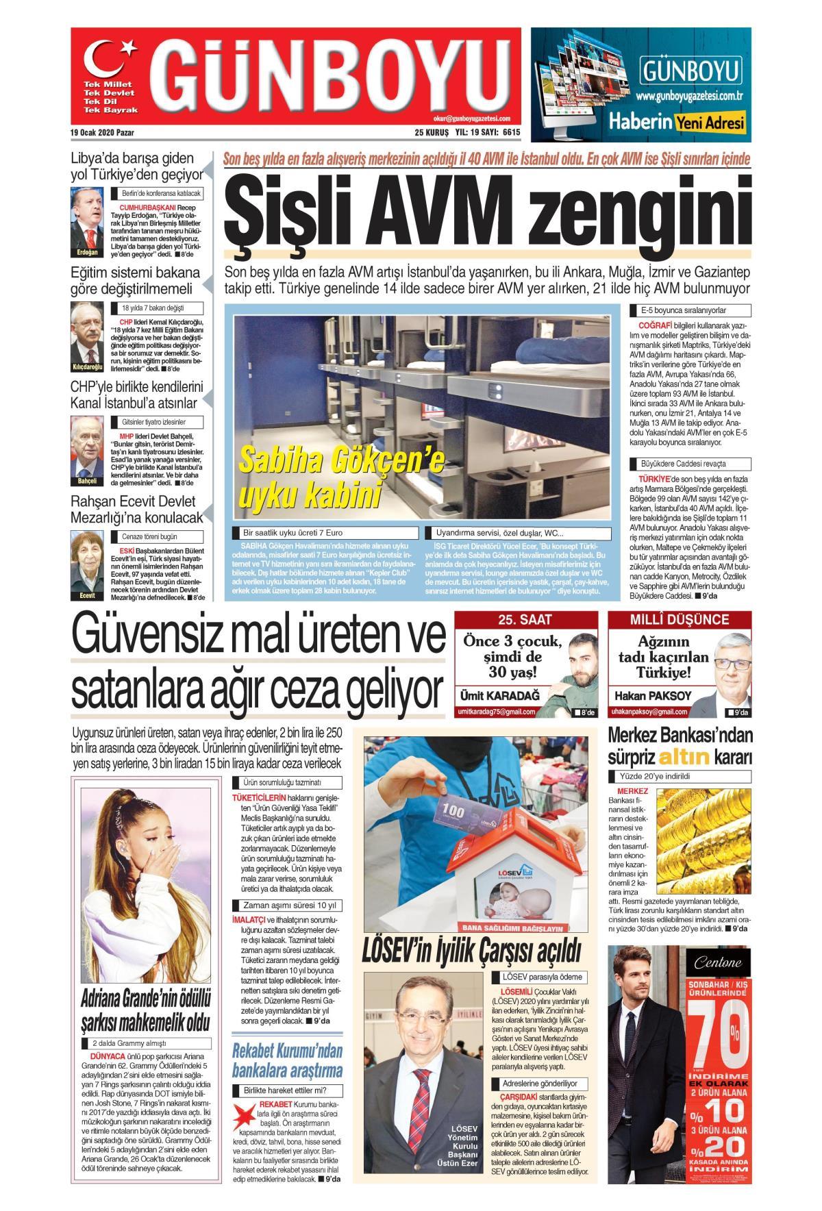 Günboyu gazetesi manşet ilk sayfa oku