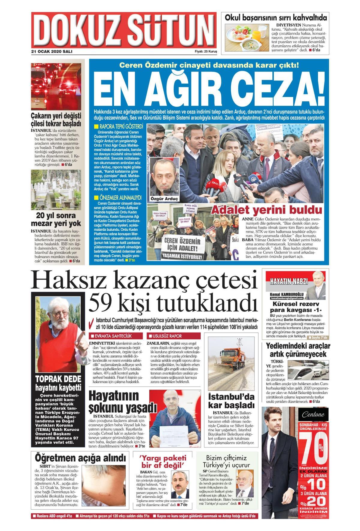 Dokuz Sütun gazetesi manşet ilk sayfa oku