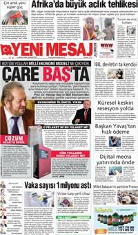 Yeni Mesaj  Gazetesi Manşeti