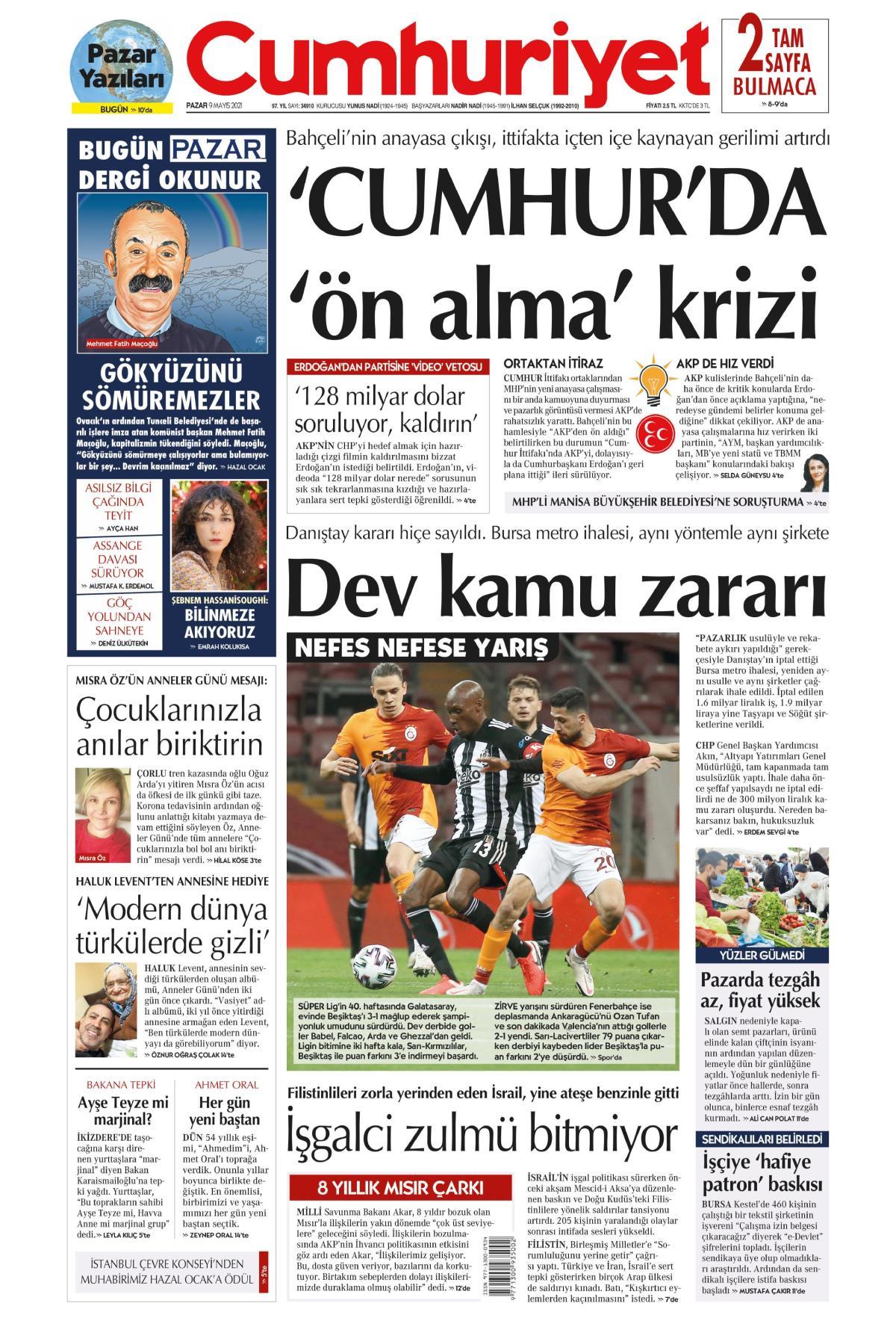 Cumhuriyet Gazetesi Manşeti